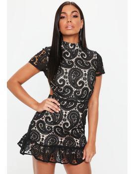 black-high-neck-paisley-lace-flippy-hem-dress by missguided