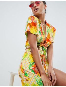asos-design-tropical-tie-front-beach-shirt by asos-design