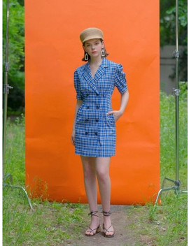 check-jacket-dress-blue by clet