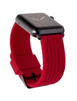 carterjett-red-42mm-apple-watch-band-sport-replacement-wrist-strap,-tire-tread-silicone-iwatch-band,-custom-dark-gray-adapters,-classic-buckle-for-all-apple-watch-nike+,-series-2,-1,-3-(42-s_m) by carterjett