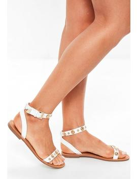 white-two-strap-gold-trim-flat-sandals by missguided