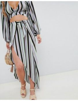asos-design-stripe-wrap-co-ord-skirt by asos-design