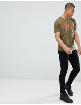 hugo-dolive-large-logo-t-shirt-in-khaki by hugo
