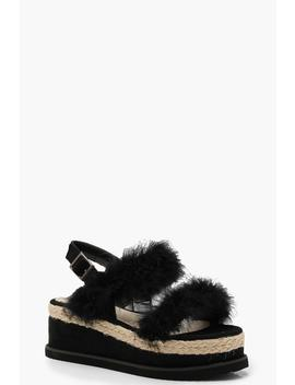 faux-fur-two-strap-flatforms by boohoo