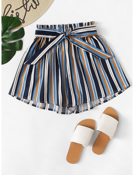 frill-trim-striped-shorts by shein