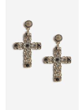 **statement-cross-drop-earrings by topshop