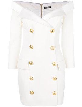 off-the-shoulder-button-dress by balmain