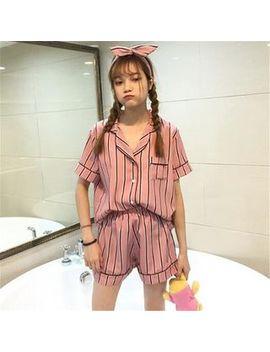 pajama-set:-striped-short-sleeve-shirt-+-shorts-+-headband by felicia