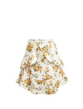 golden-flutter--floral-print-linen-skirt by zimmermann