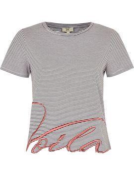 petite-navy-stripe-'viola'-t-shirt by river-island