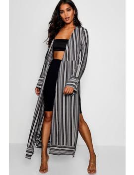 frances-stripe-woven-contrast-border-kimono by boohoo