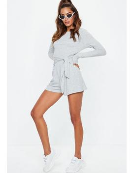 grey-ribbed-tie-side-playsuit by missguided