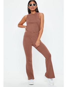 mocha-brown-ribbed-flare-sleeveless-jumpsuit by missguided