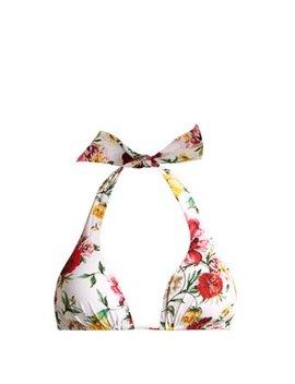 floral-print-triangle-bikini-top by dolce-&-gabbana