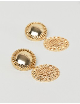 asos-design-earrings-with-vintage-style-cut-out-drop-in-gold by asos-design