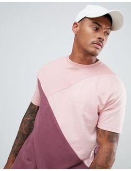 boohooman-drop-shoulder-t-shirt-in-tonal-pink-color-block by boohooman
