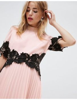 asos-design-lace-waist-and-cuff-pleated-midi-dress by asos-design