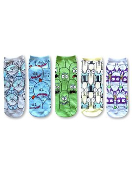 rick-and-morty-mr-meseeks-noob-noob-pickle-rick-5-pack-ankle-socks by rick-and-morty