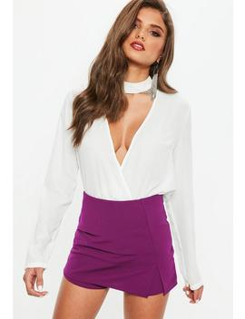 purple-stretch-crepe-slit-front-skort by missguided