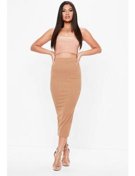 camel-bandage-midaxi-skirt by missguided