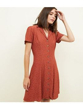 rust-spot-print-button-through-tea-dress by new-look