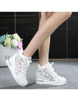 Women Mesh Round Toe Hollow Platform Wedge Shoes Lace Up High Top Sneakers Zsell by Unbranded