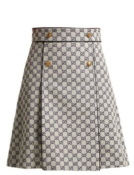 logo-print-cotton-blend-skirt by gucci
