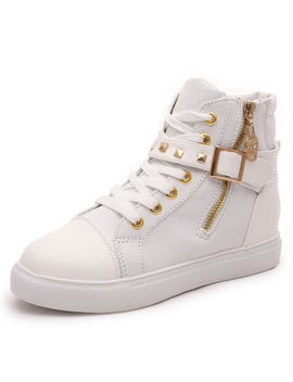 Women High Top Sneakers Oxfords Leather Shoes Canvas High Increase Sneakers by Unbranded