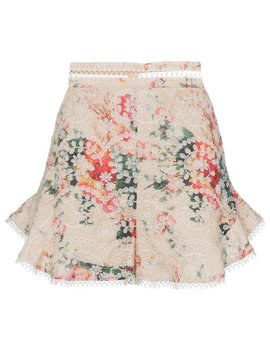 laelia-floral-print-embroidered-cotton-shorts by zimmermann