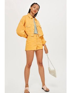 yellow-denim-jacket-and-mom-shorts-set by topshop
