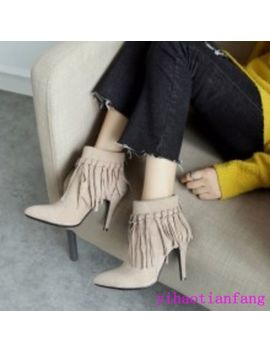2018 New Fashion Pointy Toe Suede Stilettos High Heels Tassels Ankle Boots Party by Unbranded