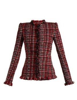 tweed-collarless-jacket by alexander-mcqueen