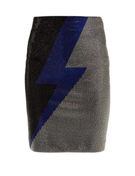 lightning-bolt-crystal-embellished-mini-skirt by balmain