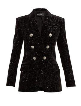 double-breasted-glitter-velvet-blazer by balmain