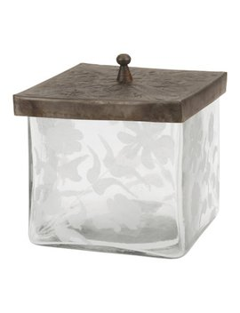 clear-square-pewter-lidded-etched-glass-jar by stonebriar-collection