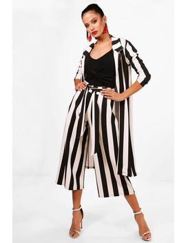big-monochrome-stripe-belted-trouser by boohoo