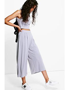 rose-high-neck-crop-&-culotte-co-ord-set by boohoo