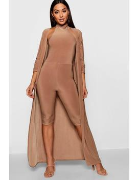 kay-high-neck-cropped-jumpsuit-duster-co-ord-set by boohoo