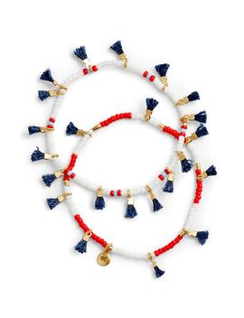 two-pack-red,-white-&-blue-beaded-tassel-bracelets by madewell