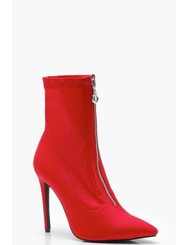 pointed-toe-stretch-heeled-sock-boots by boohoo