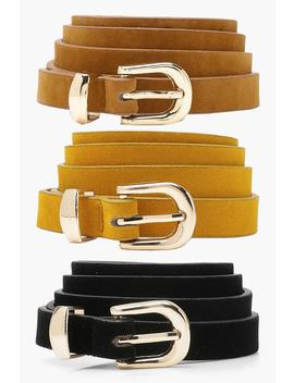 tia-three-pack-suedette-belts by boohoo