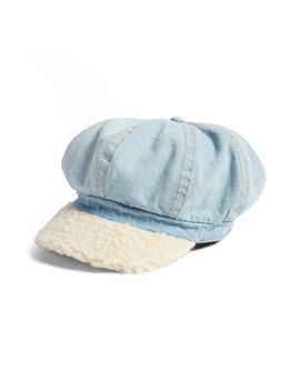 faux-shearling-&-denim-baker-boy-hat by bp