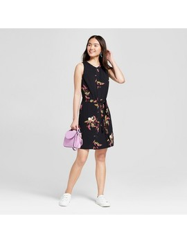 womens-floral-print-sleeveless-shirtdress---a-new-day-black by a-new-day