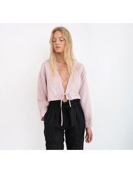 victoria-linen-tie-front-top-_-long-sleeve-cropped-linen-blouse by etsy