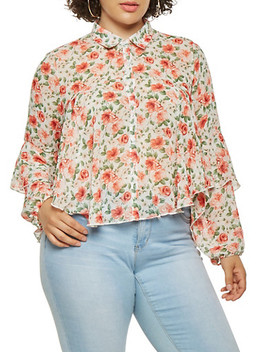 plus-size-tiered-floral-shirt by rainbow