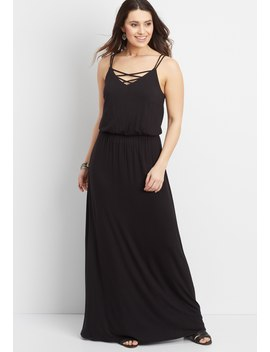 24/7 Maxi Dress With Strappy Neckline by Maurices