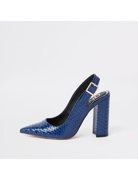 blue-croc-block-heel-sling-back-court-shoes by river-island