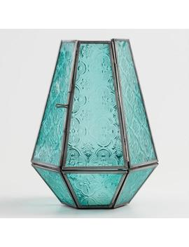 jade-green-embossed-glass-hurricane-candleholder by world-market