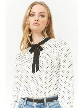 polka-dot-tie-neck-top by forever-21
