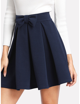 bow-front-box-pleated-textured-skirt by romwe